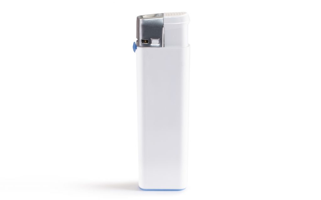 White blank gas lighter mock up stand isolated.
