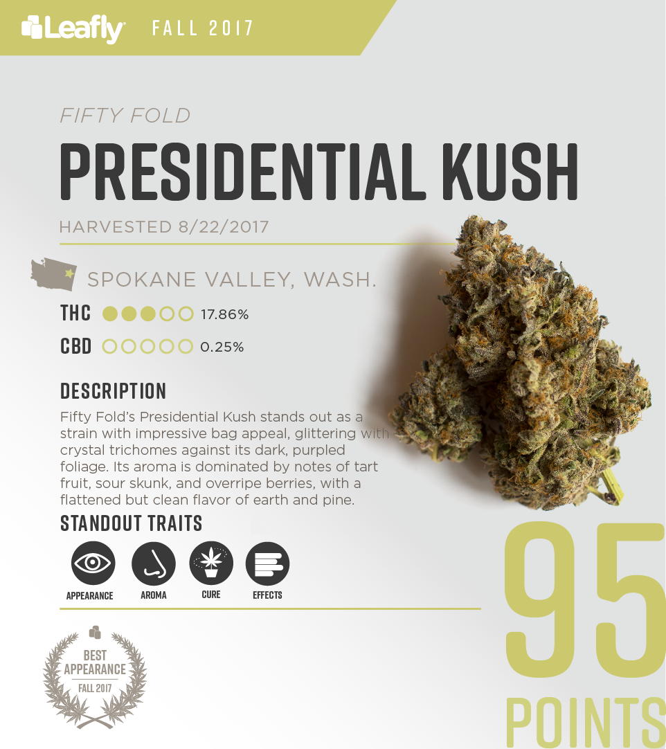 Characteristics of Fifty Fold's Presidential Kush cannabis strain, the #3-rated THC-dominant strain in Washington state for fall 2017