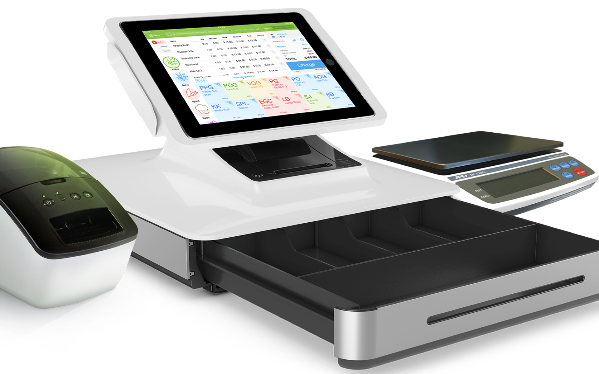 indicaOnline point-of-sale unit with printer, scale, and cash register