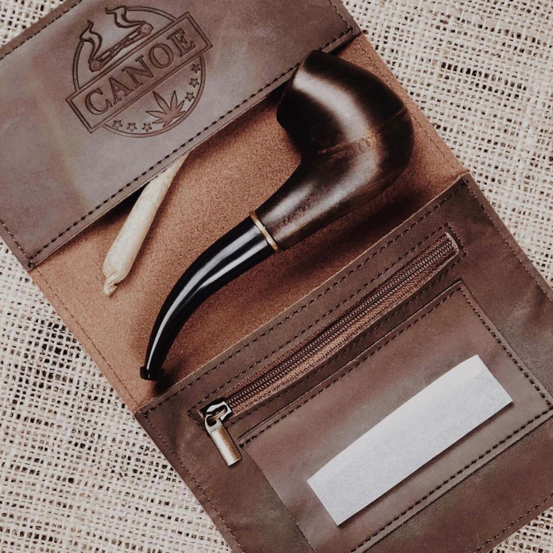 Canoe Cannabis Co leather stash case