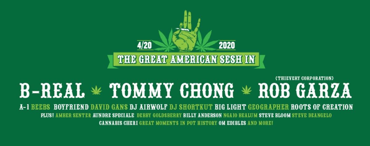 A flyer for a major online gathering this 4/20 features leading entertainers and activists.